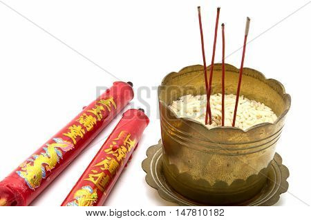 Incense Sticks And Candles In Old Golden Incense Burner .