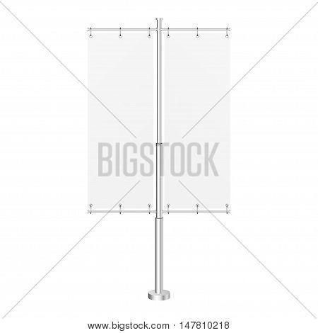 White Outdoor Panel Flag With Ground Fillable Water Base, Stander Advertising Banner Shield. Mock Up Products On White Background Isolated. Ready For Your Design. Product Packing Vector EPS10