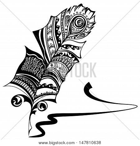 Plume with ethnic ornament and ink signature. Vector graphic.