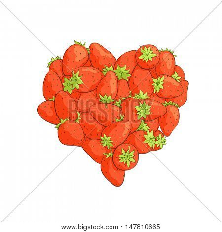 Heart shape by strawberries on white background