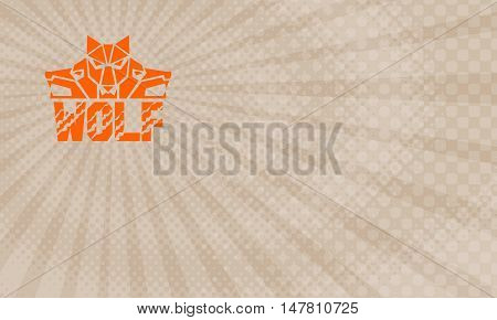 Business Card showing Illustration of a pack of wolf heads viewed from front set on isolated white background with the text word Wolf done in retro style.