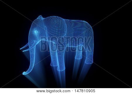 Elephant in Hologram Wireframe Style. Nice 3D Rendering