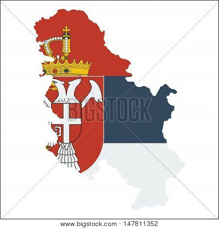 Serbia High Resolution Map With National Flag. Flag Of The Country Overlaid On Detailed Outline Map