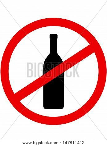 Sign Stop Alcohol With Wine Bottle