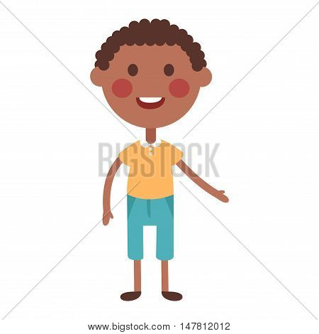 Cute afro baby boy character vector. Cute boy beautiful fashion young female. Cute afro boy schoolgirl isolayted on white