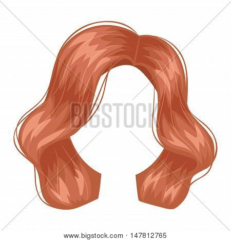 Vector design of beautiful female hairstyle. Portrait beautiful woman hairstyle straight smooth brown hair. Styling brunette woman hairstyle fashion wellness pretty profile.