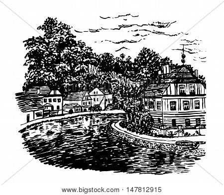 drawing background landscape view of the Vltava river and buildings in Cesky Krumlov, Czech Republic, sketch hand drawn vector illustration