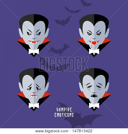 vector cartoon vampire emoticons set