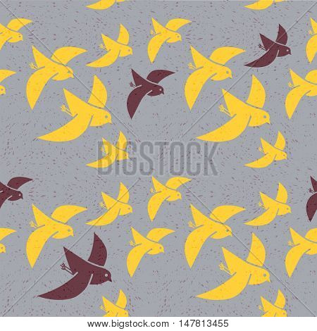 seamless vector pattern of stylized birds flying south for the winter