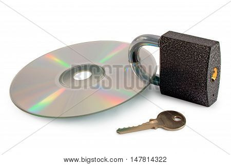 Concept: secured data disc. Isolated on white background