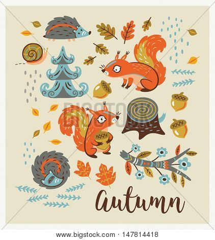 Autumn card. Fall. Vector set. Set of cartoon characters and autumn elements - squirrels, leaves, hedgehogs, snail, tree stump, nuts and fir