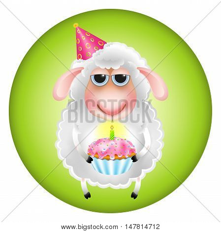 Sheep with a cupcake congratulated on his birthday