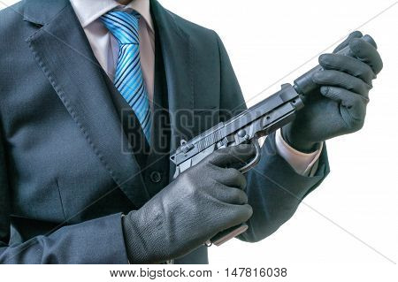 Secret Agent Or Spy Holds Pistol With Silencer In Hands. Isolate