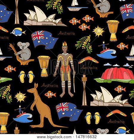 Vector seamless pattern with hand drawn colored symbols of Australia on black color. Pattern on the theme of travel and tourism. Background for use in design, packing, web site, fabric
