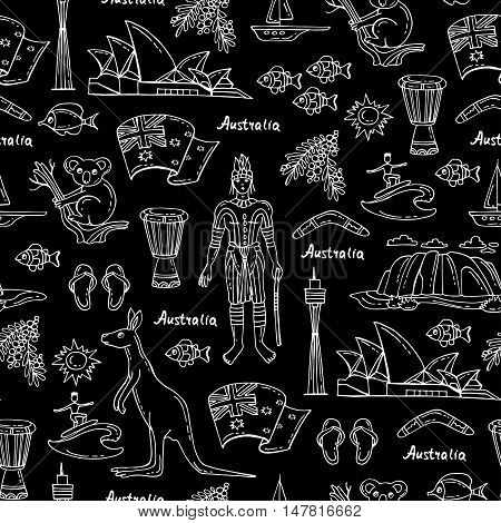 Vector seamless pattern with hand drawn isolated symbols of Australia on black color. Pattern on the theme of travel and tourism. Background for use in design, packing, web site, fabric