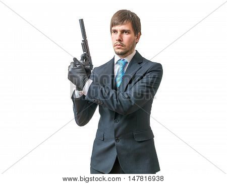 Bodyguard Or Agent With Pistol In Hands. Isolated On White Backg
