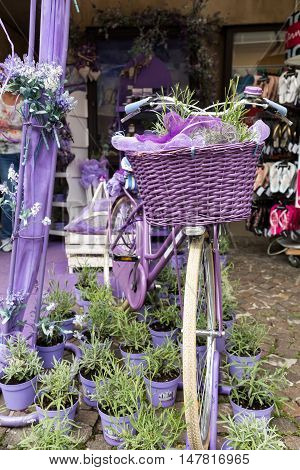 SIRMIONE ITALY - MAY 5,  2016: Sirmione Italy. Show-window the shop of perfumery and spirits from a lavender. Italy takes the second place in the world on production of oil of a lavender