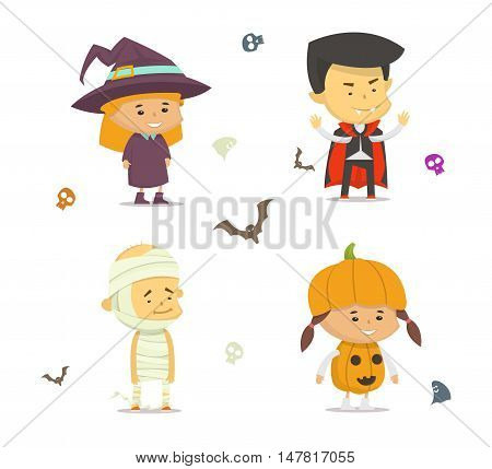 Set of characters for Halloween. Vector cartoon style illustration.