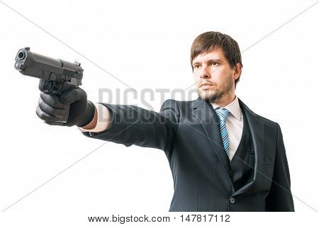 Killer Is Aiming With Pistol. Isolated On White Background.