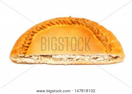 Half pie with stuffing isolated on white background