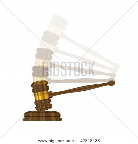 The gravel as used by judges in a court of law and auctioneers over a white background