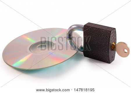 CD with closed lock and key isolated on white background