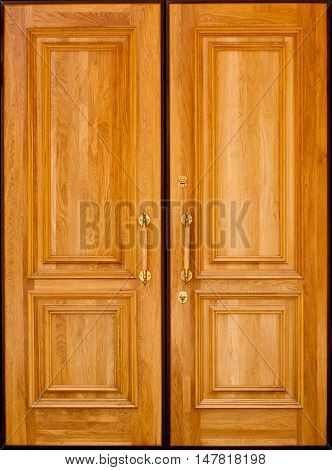 Closed double framed wooden door on white