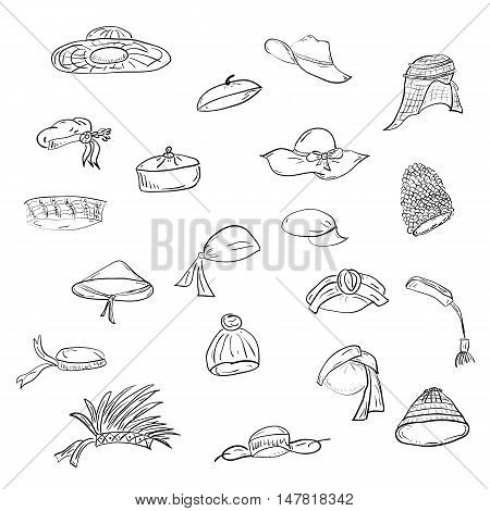 Cute Hand Drawn Twenty Hats. Doodle National hats: sombrero, cap, bonnet, beret, ushanka, bandana, tyubiteyka, turban, feather headdress, tarboosh, headscarf, rice hat. Vector Illustration.