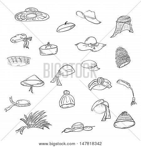 Cute Hand Drawn Twenty Hats. Doodle National hats: sombrero, cap, bonnet, beret, ushanka, bandana, tyubiteyka, turban, feather headdress, tarboosh, headscarf, rice hat. Vector Illustration.