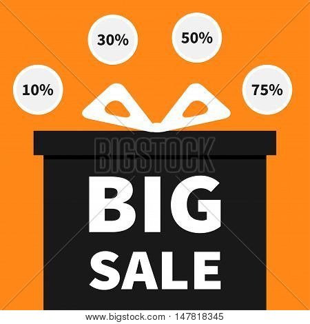 Gift box with ribbon and bow. Present giftbox. Big sale halloween advertising banner poster. Round circle 10 30 50 75 percent off sticker set. Special offer. Orange background. Flat design Vector