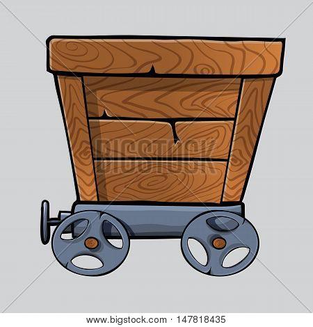 empty wooden mine cart for your designs. cartoon mine cart