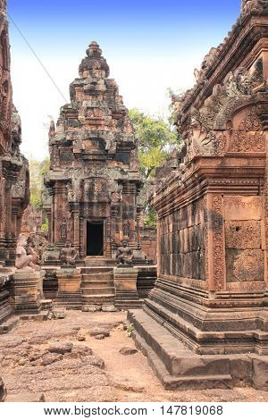 Site of Banteay Srei Temple (Pink Temple) in famous landmark Angkor Wat complex, khmer culture, Siem Reap, Cambodia. UNESCO World Heritage Site