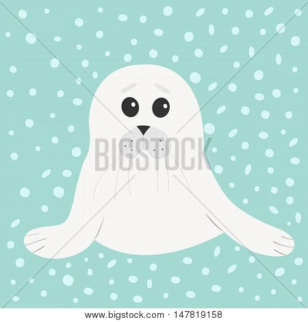 White seal pup baby harp. Cute cartoon character. Blue winter background with snow. Flat design Vector illustration