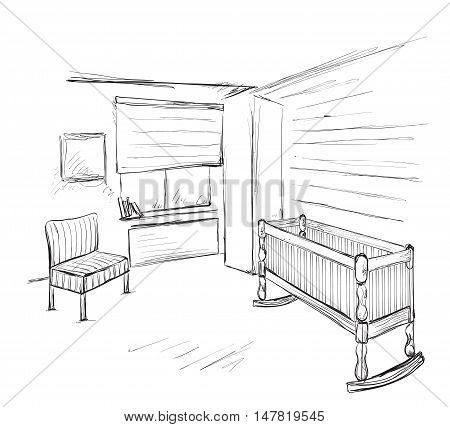 Hand drawn children room. Furniture sketch. Baby bed