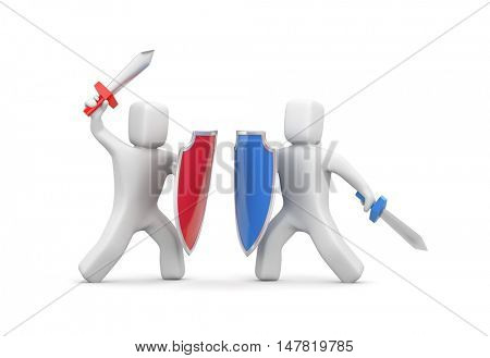 Two people fighting with swords and shields. 3d illustration