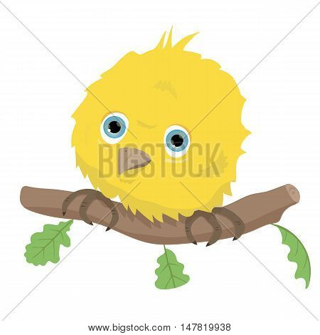 illustration of isolated a cute bird on branch on white background