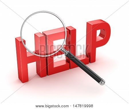 Searching help concept , 3d rendering. Isolated on white.