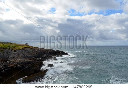 Sea landscape with bad weather and the cloudy sky