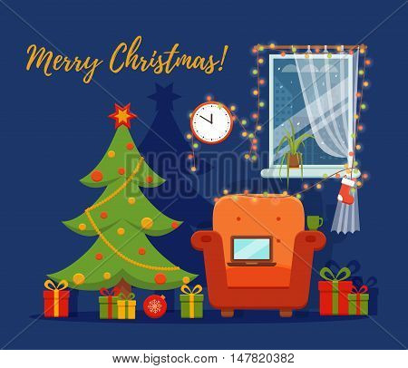 Christmas room interior in colorful cartoon flat style. Christmas tree, gifts, decoration, armchair, window,  laptop, lights.   Cozy noel xmas night celebration interior vector illustration.