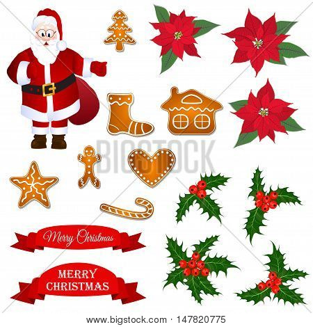 Christmass vector set with Santa, holly berry, poinsettia and gingerbread cookies