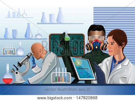Scientists in the laboratory invented a cure for cancer. Vector illustration