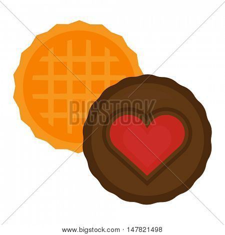 Heart cake isolated vector illustration.