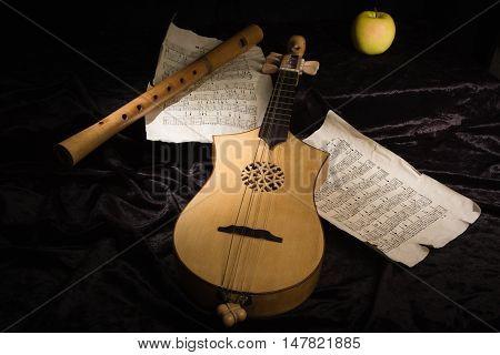 Renaissance Lute (citole) And Alto Recorder