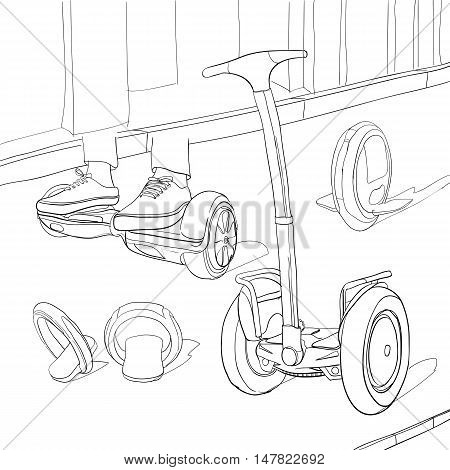 Vector illustration of Set Cartoon portable transportable. Coloring book. Urban modern transports. One-wheel, two-wheel, electric scooter, balance bike. Isolated linear objects on white background.