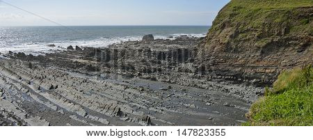 Low Tide at Welcombe Mouth Beach and Headland Devon