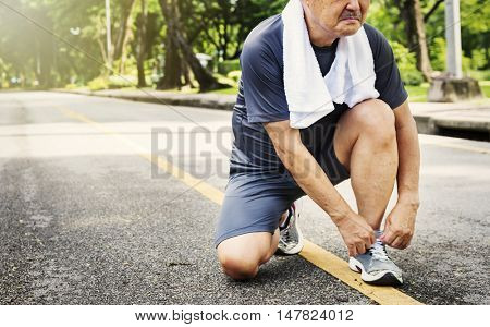 Senior Adult Jogging Running Exercise Sport Activity Concept