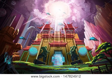 Fantastic China. Video Game's Digital CG Artwork, Concept Illustration, Realistic Cartoon Style Background