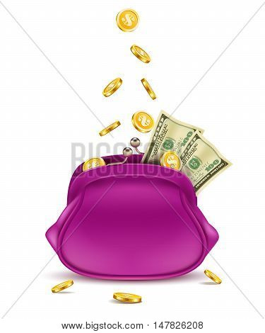 Retro purse with falling coins and dollars isolated on white background.