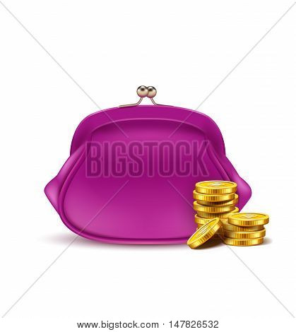Retro purse for coins isolated on white background.