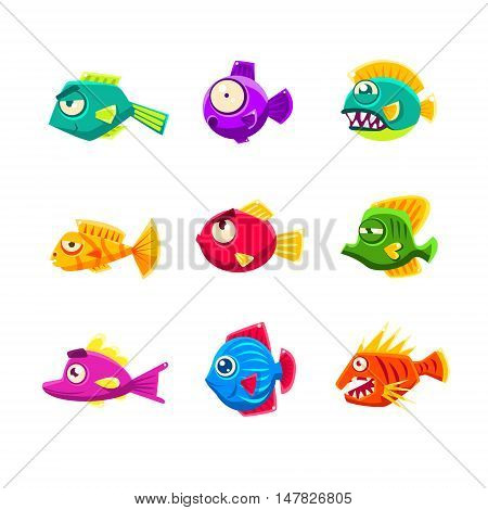 Colorful Tropical Fish Set Of Bright Color Vector Icons Isolated On White Background Design.